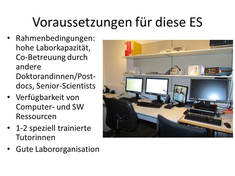 Voraussetzungen für diese ES Rahmenbedingungen: hohe Laborkapazität, Co-Betreuung durch andere Doktorandinnen/Post- docs, Senior-Scientists Verfügbarkeit von Computer- und SW Ressourcen 1-2 speziell trainierte Tutorinnen Gute Labororganisation