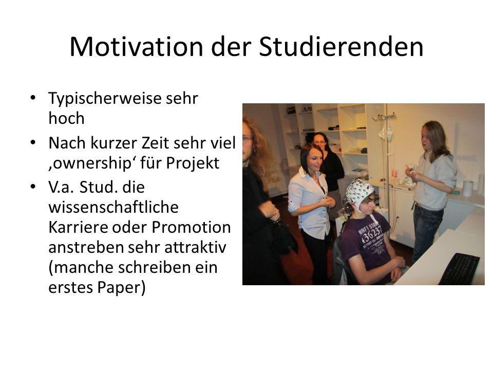 Motivation der Studierenden Typischerweise sehr hoch Nach kurzer Zeit sehr viel ownership für Projekt V.a.