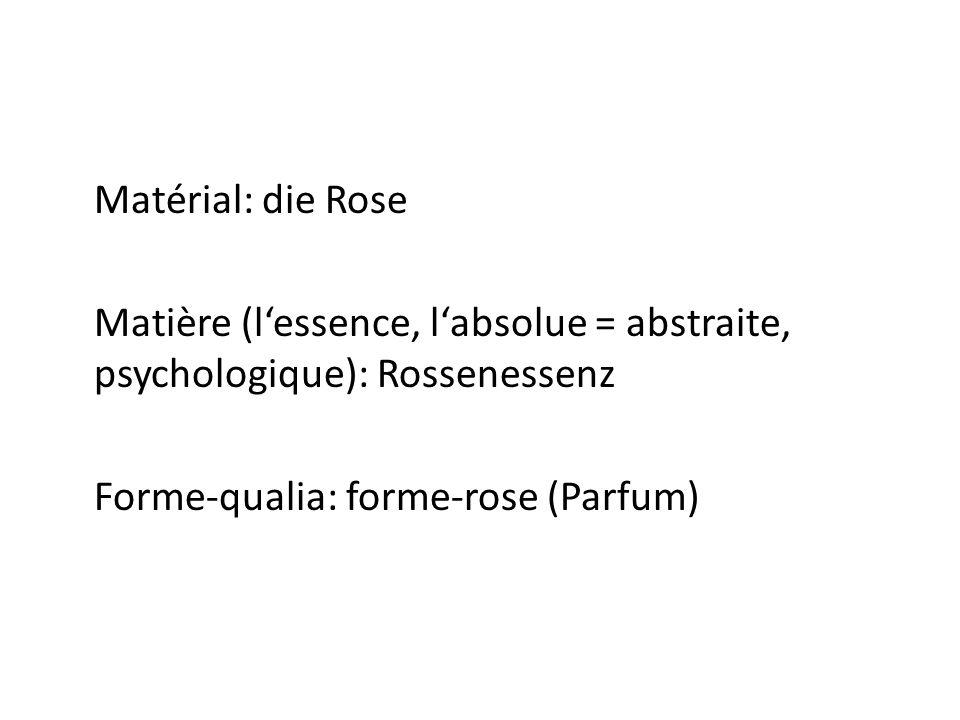 Matérial: die Rose Matière (lessence, labsolue = abstraite, psychologique): Rossenessenz Forme-qualia: forme-rose (Parfum)