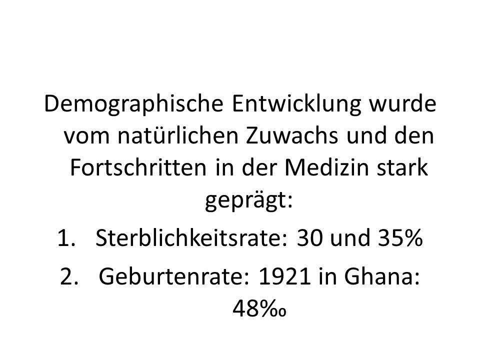 Demographische Entwicklung wurde vom natürlichen Zuwachs und den Fortschritten in der Medizin stark geprägt: 1.Sterblichkeitsrate: 30 und 35% 2.Geburt