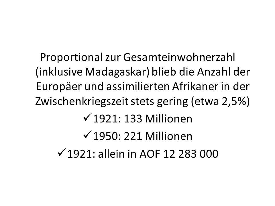Proportional zur Gesamteinwohnerzahl (inklusive Madagaskar) blieb die Anzahl der Europäer und assimilierten Afrikaner in der Zwischenkriegszeit stets