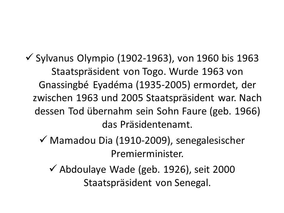 Sylvanus Olympio (1902-1963), von 1960 bis 1963 Staatspräsident von Togo. Wurde 1963 von Gnassingbé Eyadéma (1935-2005) ermordet, der zwischen 1963 un