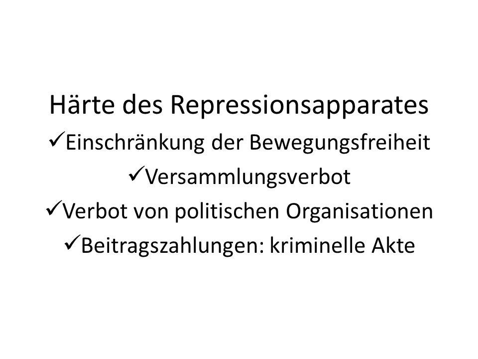 Härte des Repressionsapparates Einschränkung der Bewegungsfreiheit Versammlungsverbot Verbot von politischen Organisationen Beitragszahlungen: krimine