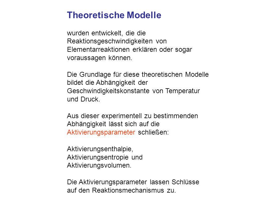 Theoretische Modelle wurden entwickelt, die die Reaktionsgeschwindigkeiten von Elementarreaktionen erklären oder sogar voraussagen können. Die Grundla