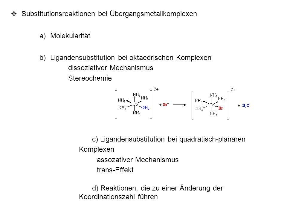 Substitutionsreaktionen bei Übergangsmetallkomplexen a)Molekularität b)Ligandensubstitution bei oktaedrischen Komplexen dissoziativer Mechanismus Ster