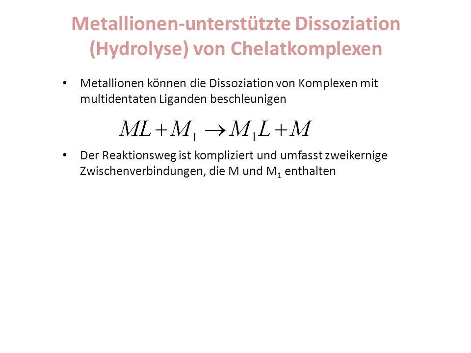 Metallionen-unterstützte Dissoziation (Hydrolyse) von Chelatkomplexen Metallionen können die Dissoziation von Komplexen mit multidentaten Liganden bes