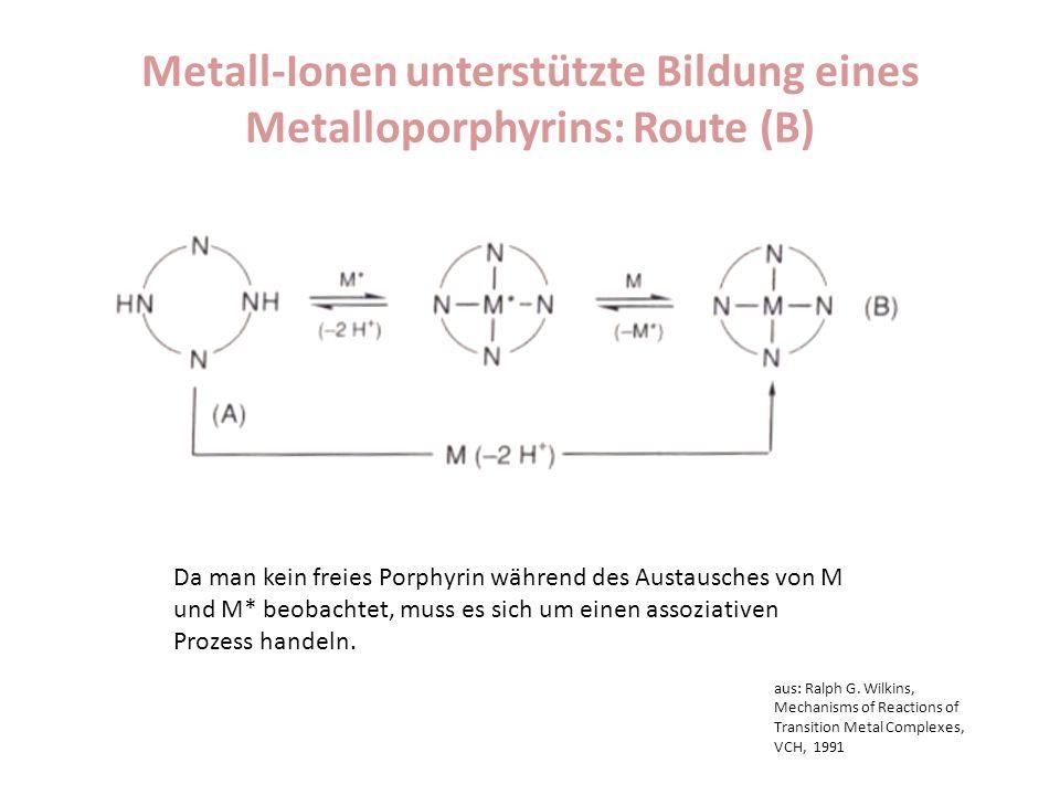 Metall-Ionen unterstützte Bildung eines Metalloporphyrins: Route (B) Da man kein freies Porphyrin während des Austausches von M und M* beobachtet, mus