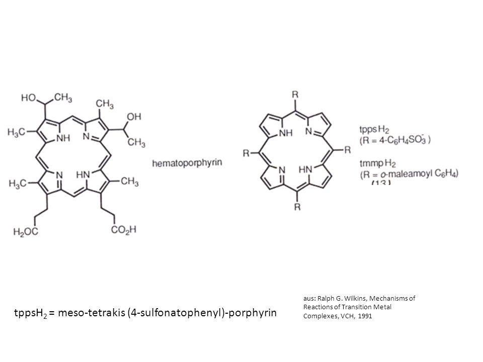 13 aus: Ralph G. Wilkins, Mechanisms of Reactions of Transition Metal Complexes, VCH, 1991 tppsH 2 = meso-tetrakis (4-sulfonatophenyl)-porphyrin