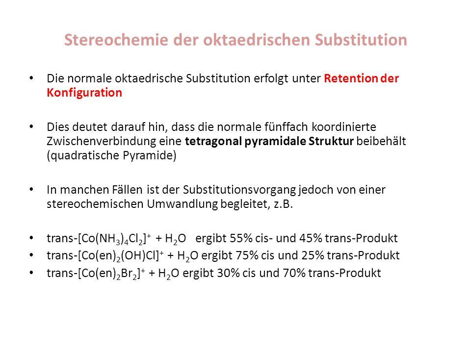 Stereochemie der oktaedrischen Substitution Die normale oktaedrische Substitution erfolgt unter Retention der Konfiguration Dies deutet darauf hin, da