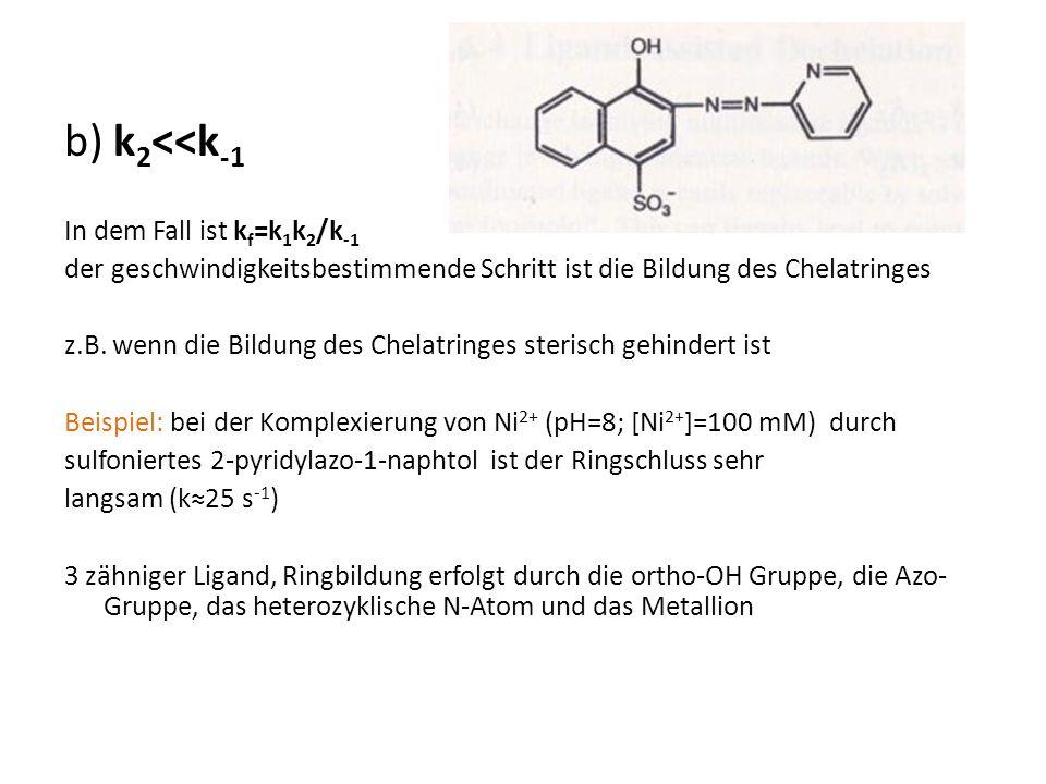 b) k 2 <<k -1 In dem Fall ist k f =k 1 k 2 /k -1 der geschwindigkeitsbestimmende Schritt ist die Bildung des Chelatringes z.B. wenn die Bildung des Ch