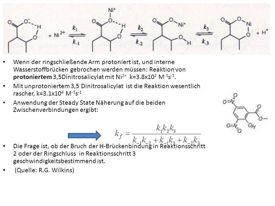Effekt des pH auf die Geschwindigkeit der Substitution bei Chelatkomplexen Das Verhalten eines Chelatliganden L und seiner protonierten Form LH + ist unterschiedlich Sowohl die Bildung als auch die Hydrolyse von Chelatkomplexen ist daher in der Regel pH-abhängig weil gewöhnlich K 1 >K 3 kinetischen Messungen an Metallkomplexen (Ni 2+, Cr 3+ ) von Polyaminen zeigten, dass auch k 2 >>k 3 In der umgekehrten Richtung kann ein Proton die Ringöffnung direkt unterstützen, oder auf dem Weg reaktiver protonierter Spezies