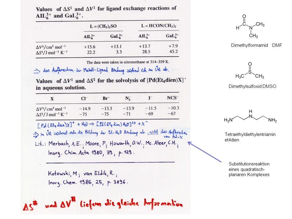 Dimethylformamid DMF Dimethylsulfoxid DMSO Tetraethyldiethylentriamin et4dien Substitutionsreaktion eines quadratisch- planaren Komplexes