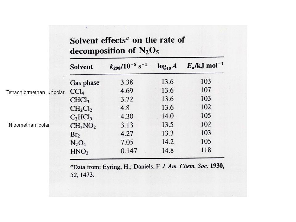 Nitromethan: polar Tetrachlormethan: unpolar