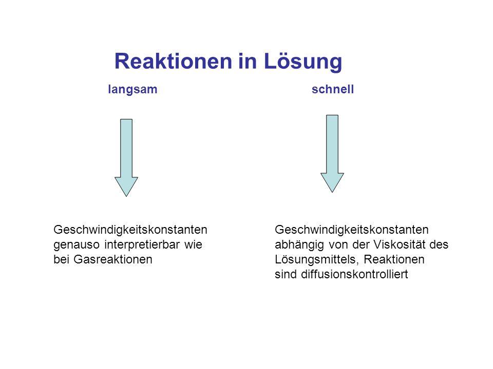 Reaktionen in Lösung langsam schnell Geschwindigkeitskonstanten genauso interpretierbar wie bei Gasreaktionen Geschwindigkeitskonstanten abhängig von