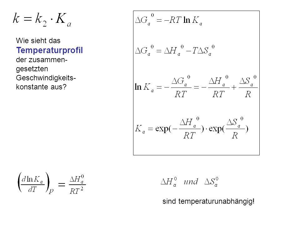 Wie sieht das Temperaturprofil der zusammen- gesetzten Geschwindigkeits- konstante aus? sind temperaturunabhängig!