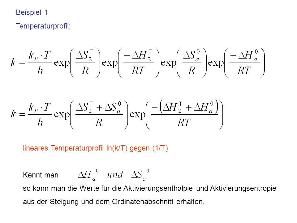 Beispiel 1 Temperaturprofil: lineares Temperaturprofil ln(k/T) gegen (1/T) Kennt man so kann man die Werte für die Aktivierungsenthalpie und Aktivieru