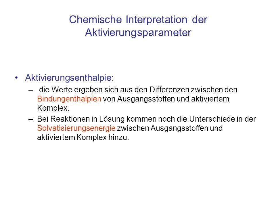 Chemische Interpretation der Aktivierungsparameter Aktivierungsenthalpie: – die Werte ergeben sich aus den Differenzen zwischen den Bindungenthalpien
