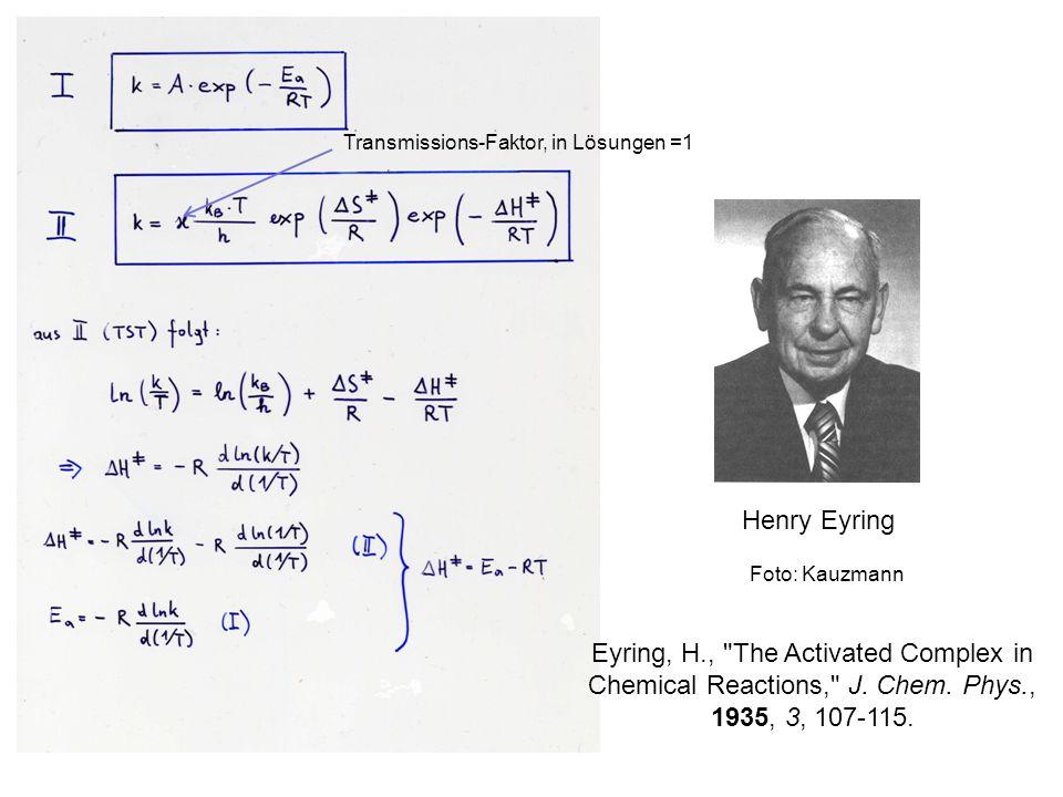 Anstieg der Geraden gedeutet als Ordinatenabschnitt gedeutet als Im Bereich der Raumtemperatur ist E a ca.