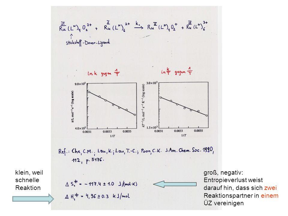 groß, negativ: Entropieverlust weist darauf hin, dass sich zwei Reaktionspartner in einem ÜZ vereinigen klein, weil schnelle Reaktion