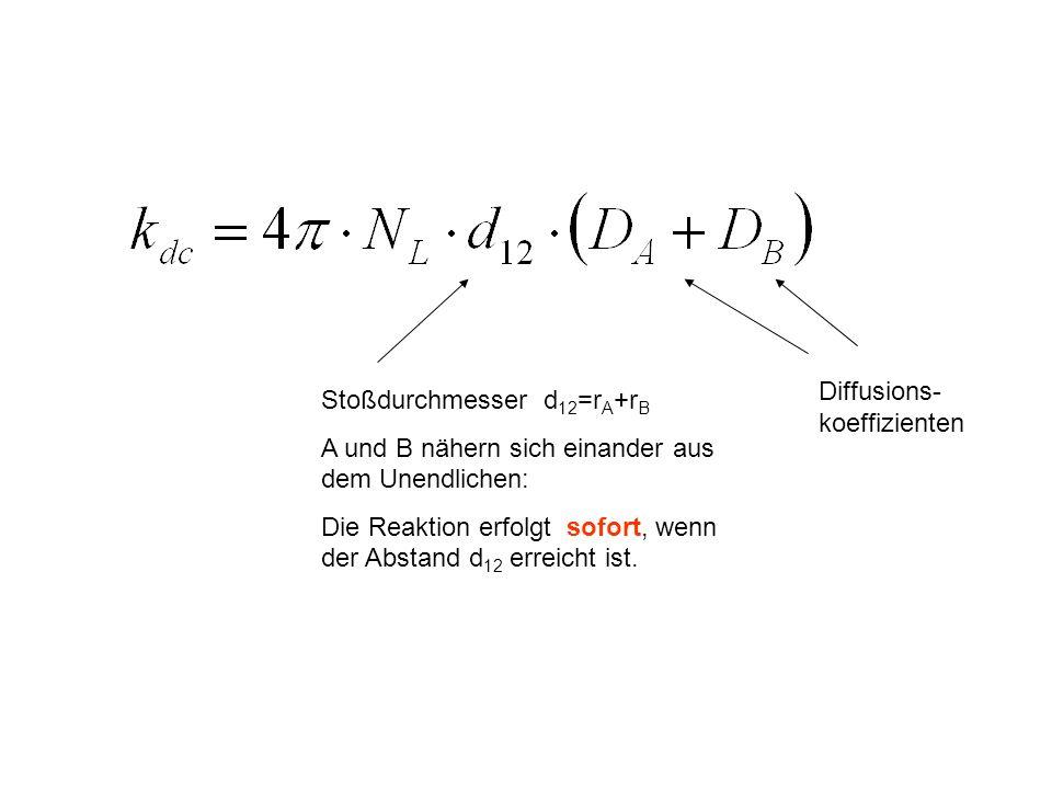 Stoßdurchmesser d 12 =r A +r B A und B nähern sich einander aus dem Unendlichen: Die Reaktion erfolgt sofort, wenn der Abstand d 12 erreicht ist. Diff