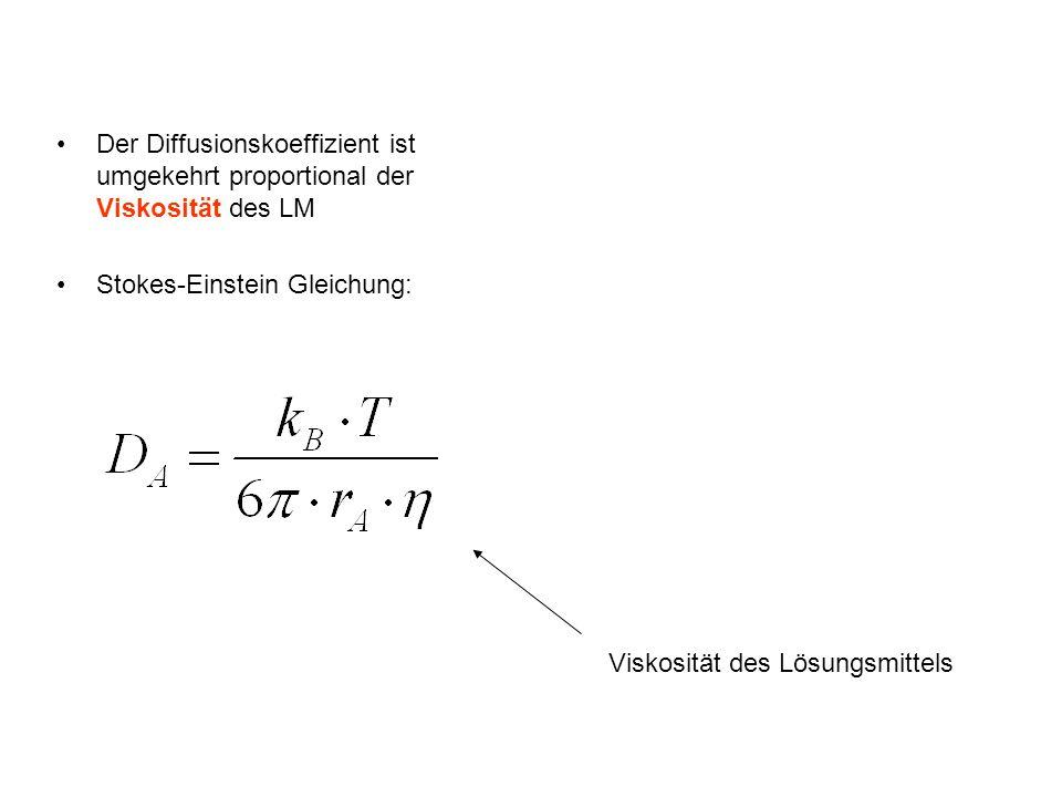 Der Diffusionskoeffizient ist umgekehrt proportional der Viskosität des LM Stokes-Einstein Gleichung: Viskosität des Lösungsmittels