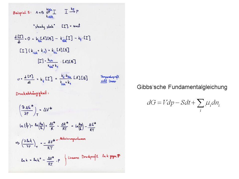 Aktivierungsvolumen Die Werte für können in der Nähe von Null liegen, aber auch positiv oder negativ sein, mit Werten von einigen cm 3 /mol.