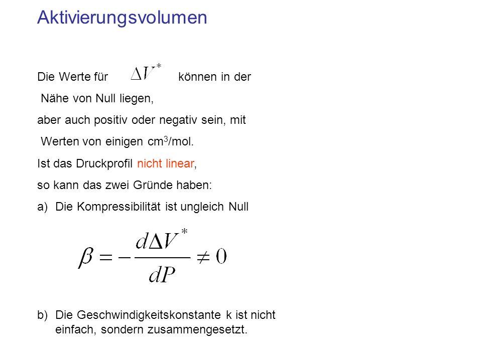 Aktivierungsvolumen Die Werte für können in der Nähe von Null liegen, aber auch positiv oder negativ sein, mit Werten von einigen cm 3 /mol. Ist das D