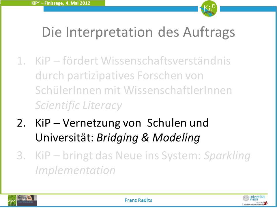 KiP 2 – Finissage, 4. Mai 2012 Die Interpretation des Auftrags 1.KiP – fördert Wissenschaftsverständnis durch partizipatives Forschen von SchülerInnen