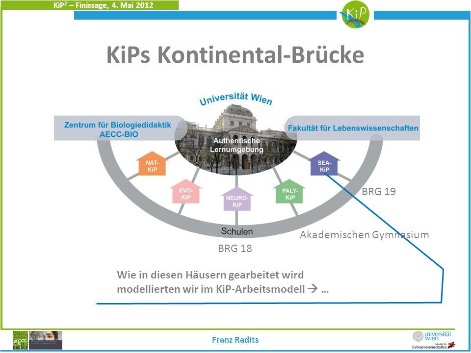 KiP 2 – Finissage, 4. Mai 2012 KiPs Kontinental-Brücke S Bio-W. Wie in diesen Häusern gearbeitet wird modellierten wir im KiP-Arbeitsmodell … Franz Ra