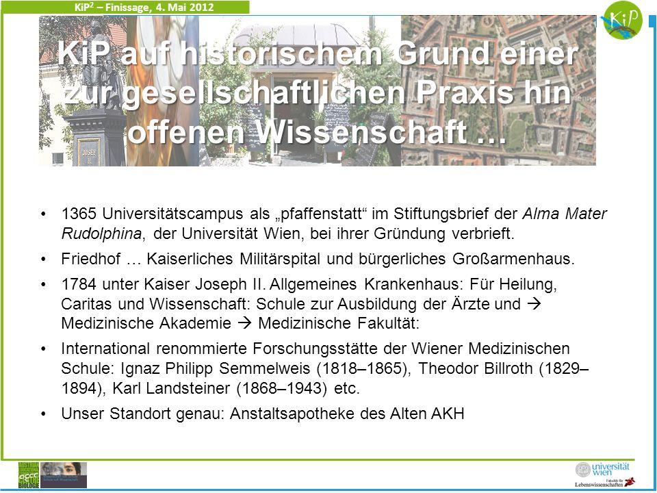 KiP 2 – Finissage, 4. Mai 2012 1365 Universitätscampus als pfaffenstatt im Stiftungsbrief der Alma Mater Rudolphina, der Universität Wien, bei ihrer G