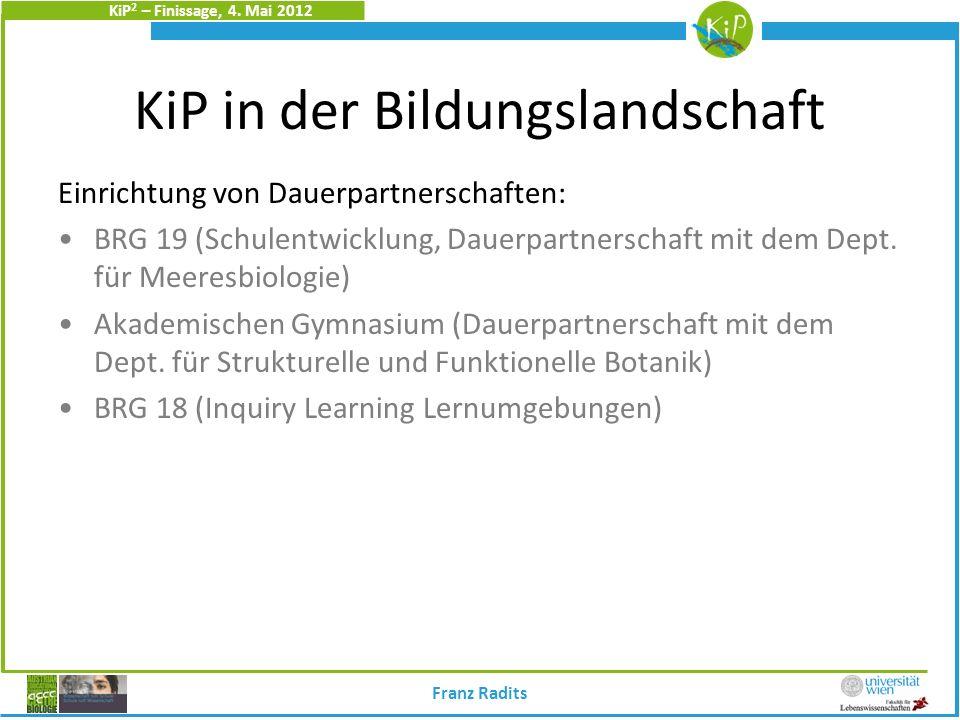 KiP 2 – Finissage, 4. Mai 2012 KiP in der Bildungslandschaft Einrichtung von Dauerpartnerschaften: BRG 19 (Schulentwicklung, Dauerpartnerschaft mit de