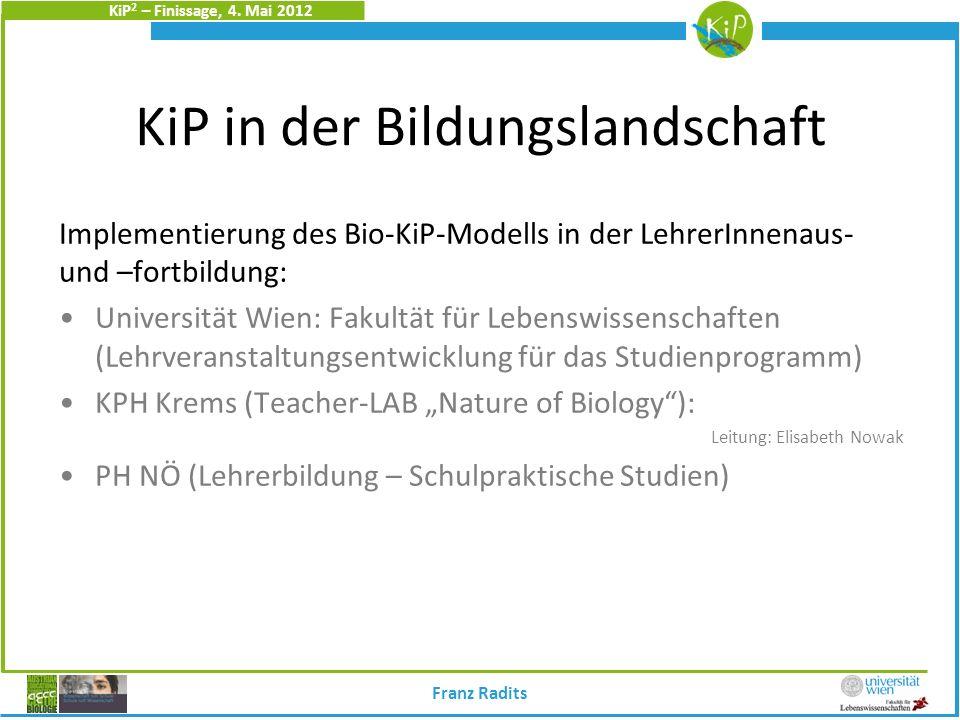 KiP 2 – Finissage, 4. Mai 2012 KiP in der Bildungslandschaft Implementierung des Bio-KiP-Modells in der LehrerInnenaus- und –fortbildung: Universität