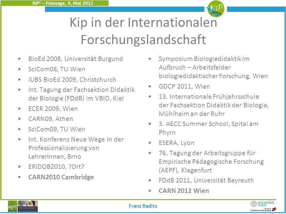 KiP 2 – Finissage, 4. Mai 2012 Kip in der Internationalen Forschungslandschaft BioEd 2008, Universität Burgund SciCom08, TU Wien IUBS BioEd 2009, Chri