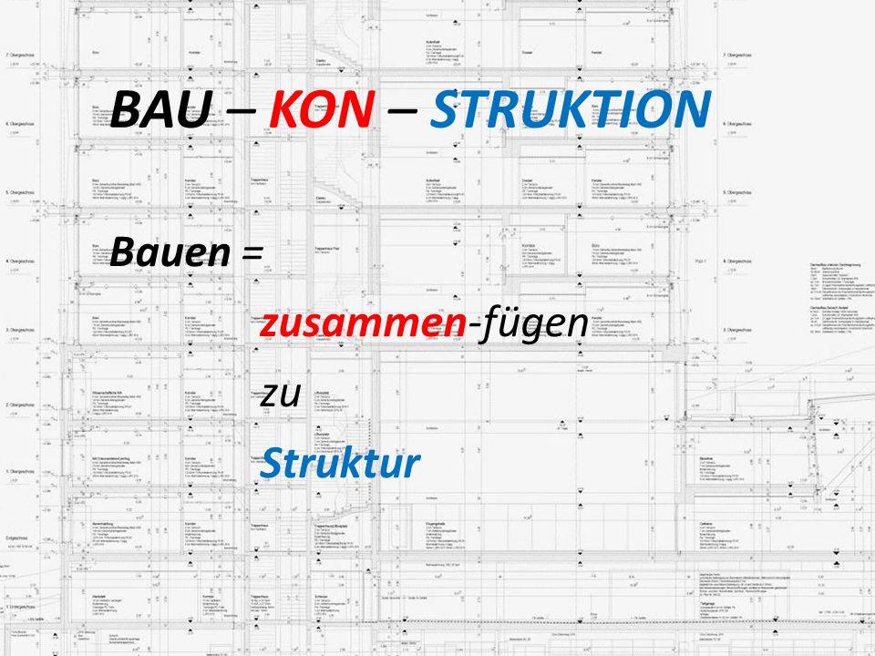 BAU – KON – STRUKTION Bauen = zusammen-fügen zu Struktur