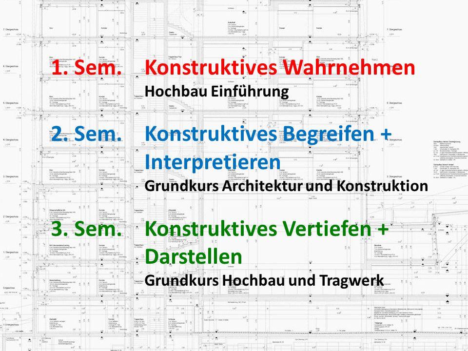 1. Sem.Konstruktives Wahrnehmen Hochbau Einführung 2. Sem.Konstruktives Begreifen + Interpretieren Grundkurs Architektur und Konstruktion 3. Sem. Kons