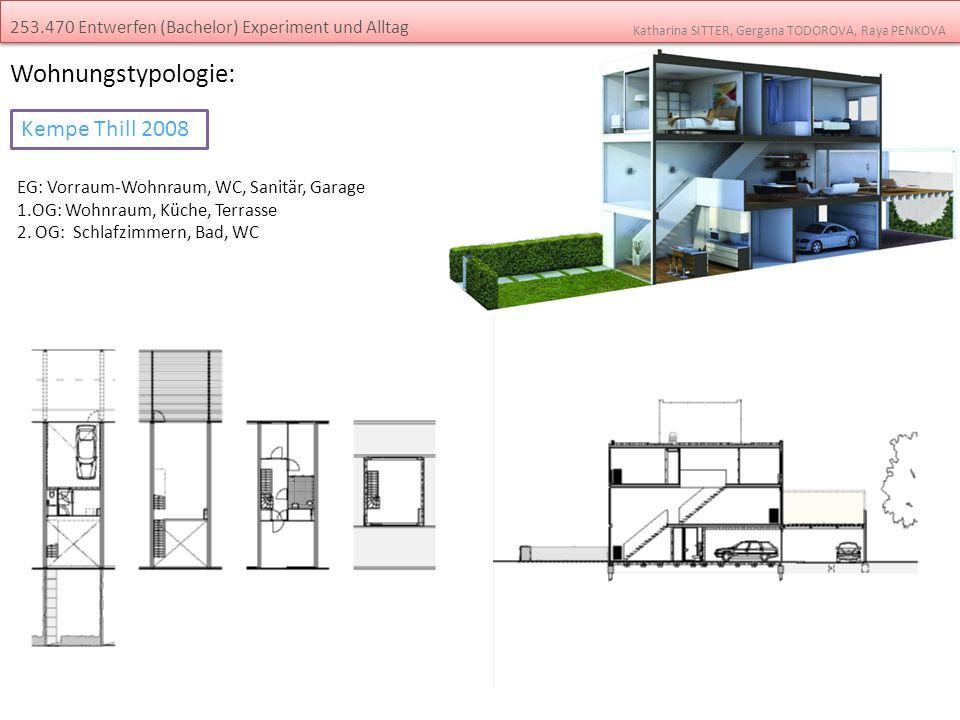 Wohnungstypologie: EG: Vorraum-Wohnraum, WC, Sanitär, Garage 1.OG: Wohnraum, Küche, Terrasse 2. OG: Schlafzimmern, Bad, WC 253.470 Entwerfen (Bachelor