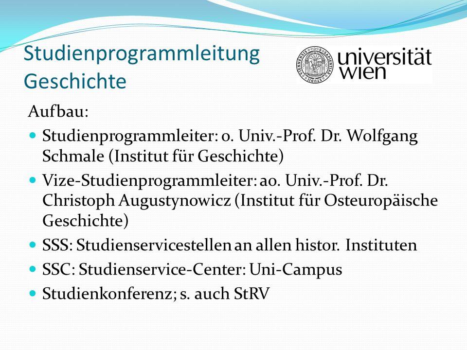 Studienprogrammleitung Geschichte Aufbau: Studienprogrammleiter: o. Univ.-Prof. Dr. Wolfgang Schmale (Institut für Geschichte) Vize-Studienprogrammlei