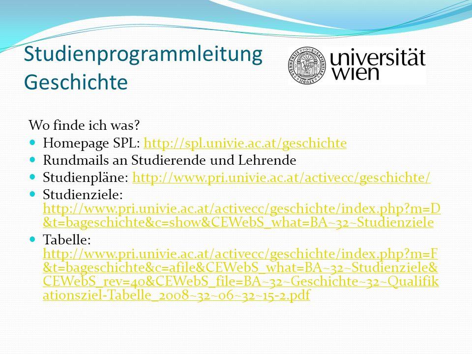 Studienprogrammleitung Geschichte Wo finde ich was? Homepage SPL: http://spl.univie.ac.at/geschichtehttp://spl.univie.ac.at/geschichte Rundmails an St