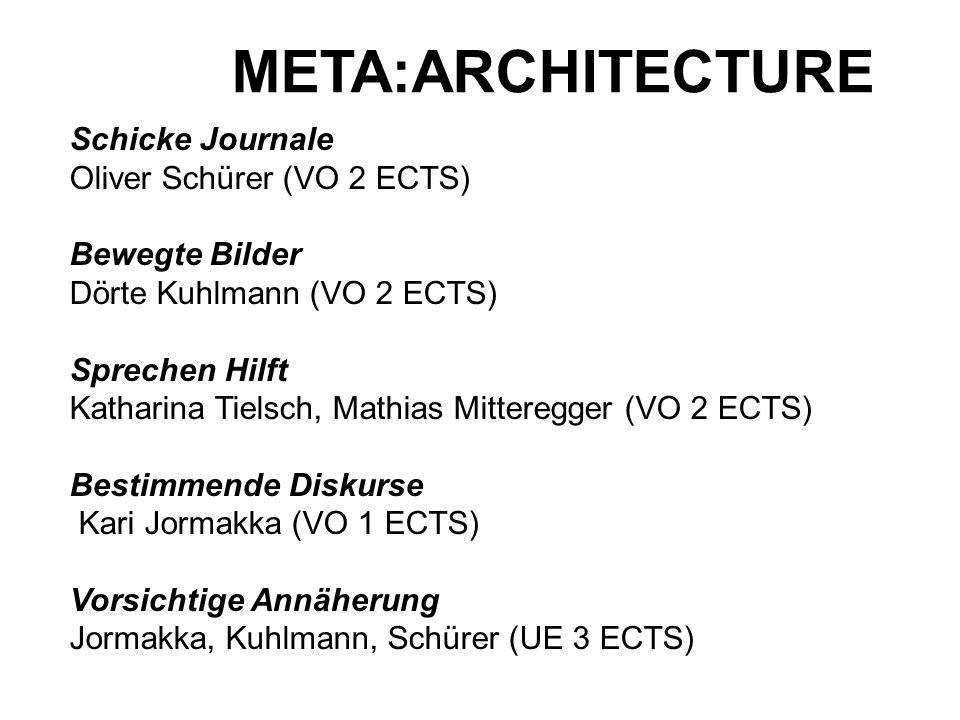 META:ARCHITECTURE Schicke Journale Oliver Schürer (VO 2 ECTS) Bewegte Bilder Dörte Kuhlmann (VO 2 ECTS) Sprechen Hilft Katharina Tielsch, Mathias Mitt