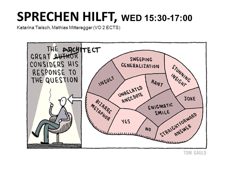 SPRECHEN HILFT, WED 15:30-17:00 Katarina Tielsch, Mathias Mitteregger (VO 2 ECTS) First Meeting/ Intro