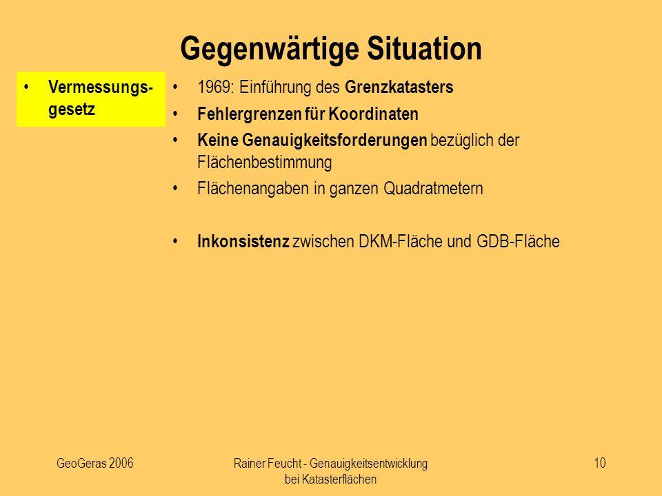 GeoGeras 2006Rainer Feucht - Genauigkeitsentwicklung bei Katasterflächen 10 Vermessungs- gesetz 1969: Einführung des Grenzkatasters Fehlergrenzen für