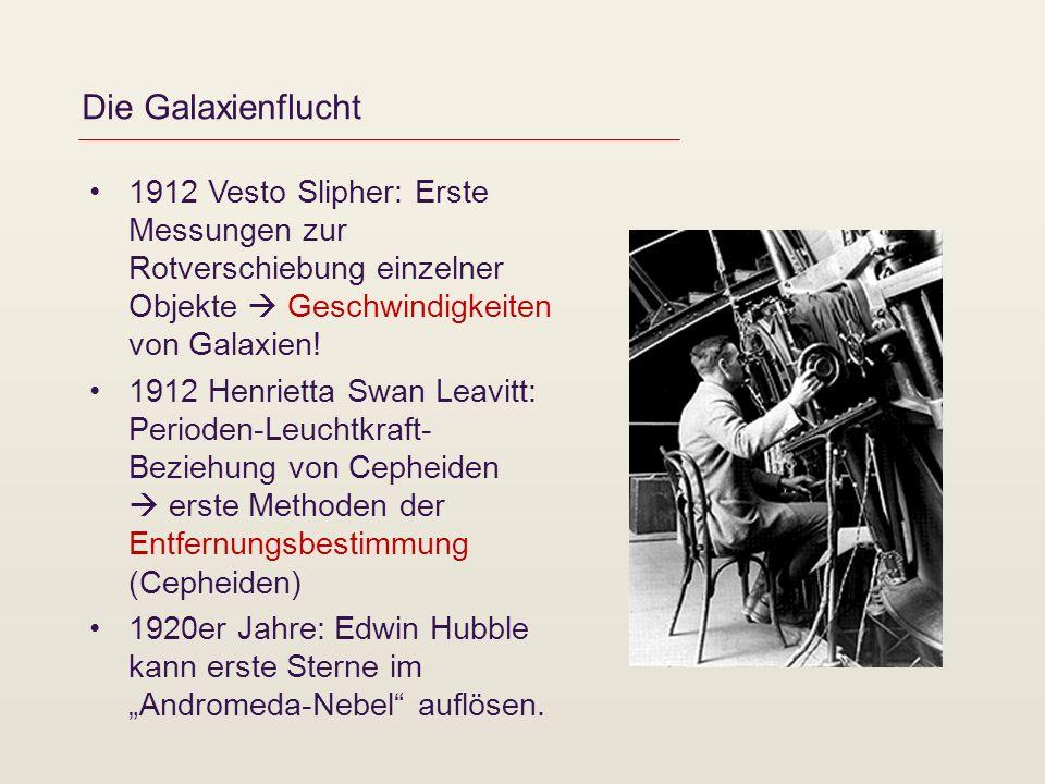 Die Galaxienflucht 1912 Vesto Slipher: Erste Messungen zur Rotverschiebung einzelner Objekte Geschwindigkeiten von Galaxien! 1912 Henrietta Swan Leavi