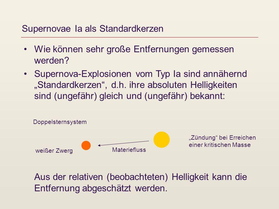 Supernovae Ia als Standardkerzen Wie können sehr große Entfernungen gemessen werden? Supernova-Explosionen vom Typ Ia sind annähernd Standardkerzen, d