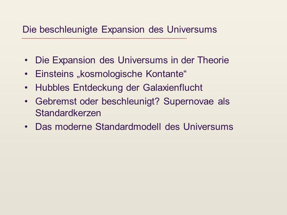 Die beschleunigte Expansion des Universums Die Expansion des Universums in der Theorie Einsteins kosmologische Kontante Hubbles Entdeckung der Galaxie