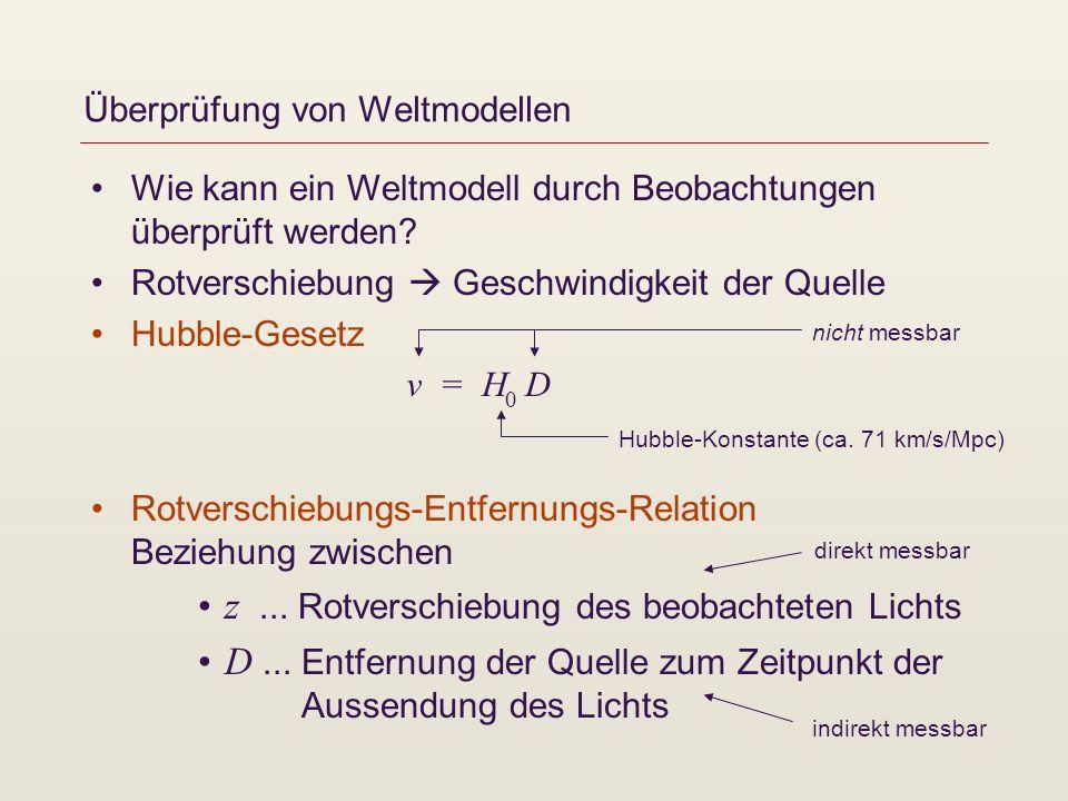 Überprüfung von Weltmodellen Wie kann ein Weltmodell durch Beobachtungen überprüft werden? Rotverschiebung Geschwindigkeit der Quelle Hubble-Gesetz Ro