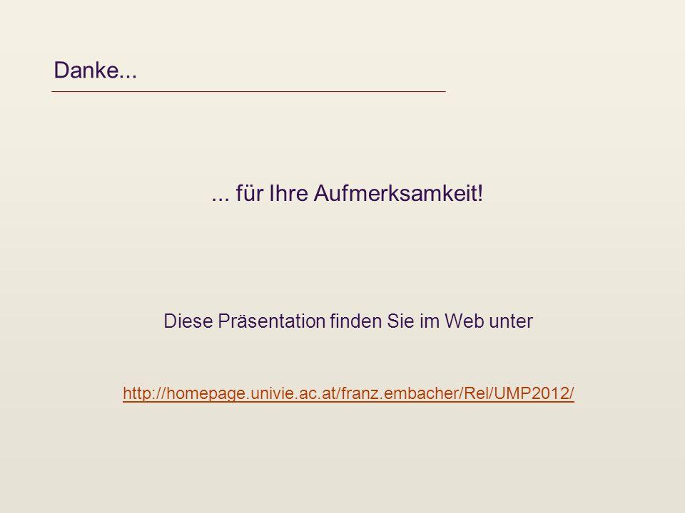 Danke...... für Ihre Aufmerksamkeit! Diese Präsentation finden Sie im Web unter http://homepage.univie.ac.at/franz.embacher/Rel/UMP2012/