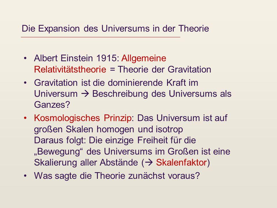 Die Expansion des Universums in der Theorie Albert Einstein 1915: Allgemeine Relativitätstheorie = Theorie der Gravitation Gravitation ist die dominie
