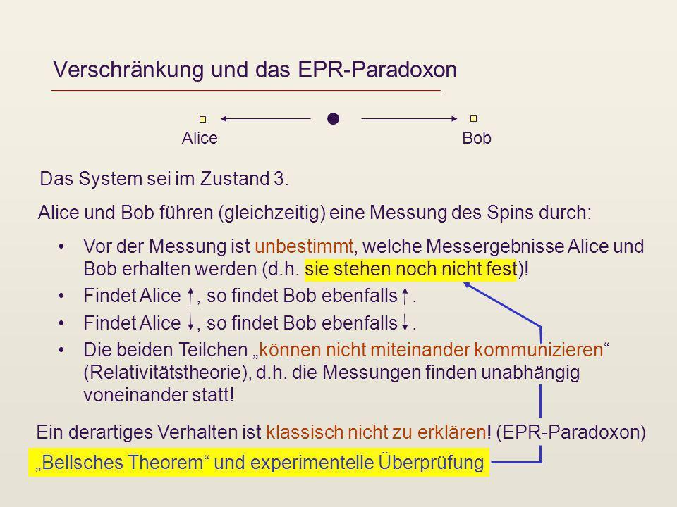 Bellsches Theorem und experimentelle Überprüfung Verschränkung und das EPR-Paradoxon AliceBob Das System sei im Zustand 3. Vor der Messung ist unbesti