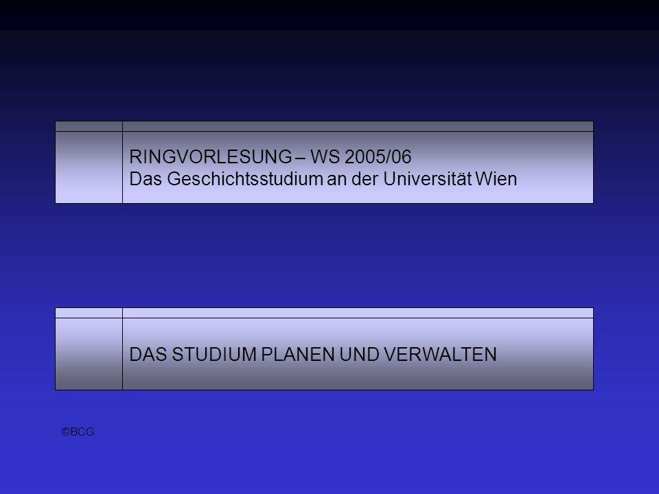 RINGVORLESUNG – WS 2005/06 Das Geschichtsstudium an der Universität Wien DAS STUDIUM PLANEN UND VERWALTEN ©BCG