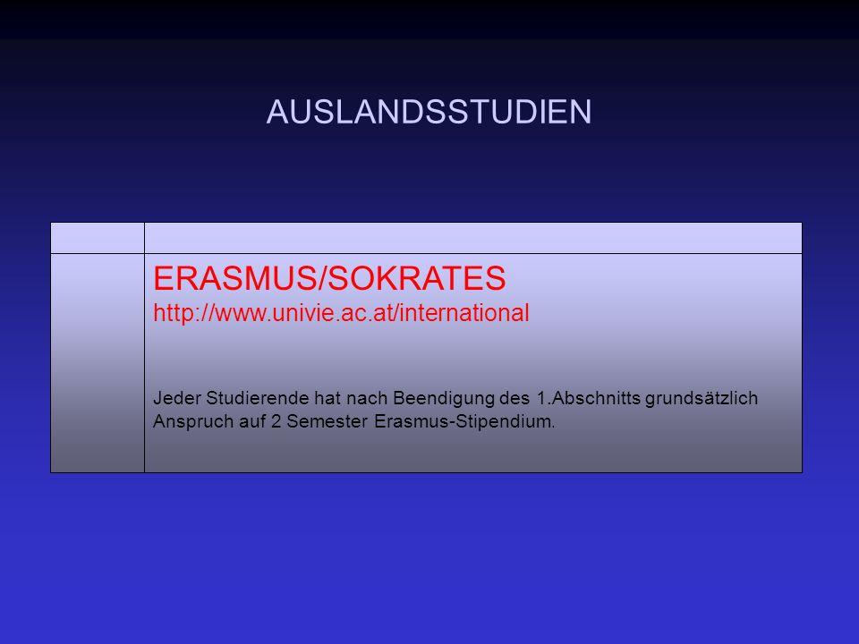 AUSLANDSSTUDIEN ERASMUS/SOKRATES http://www.univie.ac.at/international Jeder Studierende hat nach Beendigung des 1.Abschnitts grundsätzlich Anspruch auf 2 Semester Erasmus-Stipendium.